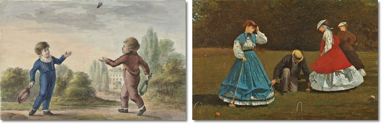 Links: anon., Zwei Knaben spielen Badminton, 18. Jhdt. (Rijksmuseum Amsterdam) Rechts: Winslow Homer, Croquet Scene. 1866 (Art Institute Chicago).