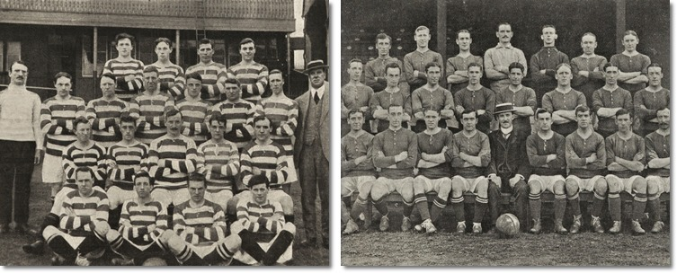 Links: Team des Celtic Football Clubs (Illustr. österr. Sportblatt, 21.5.1914) Rechts: Team des Woolwich Arsenal Football Clubs (Illustr. österr. Sportblatt, 25.5.1912)
