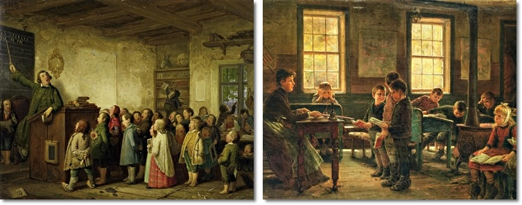 Links: Johann Peter Hasenclever (1810-1853), Die Dorfschule. Rechts: Edward Lamson Henry (1841-1919), A Country School.