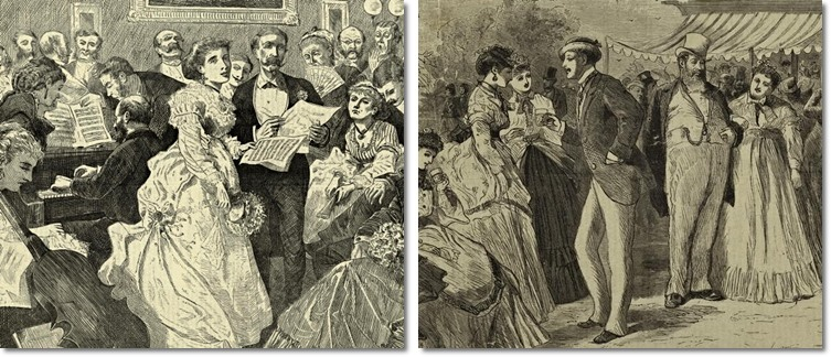 Links: Charles Green Bush, A Musical Party, 1871. Rechts: Anonym, Garden Party, 19. Jhdt. Beide: New York Public Library.
