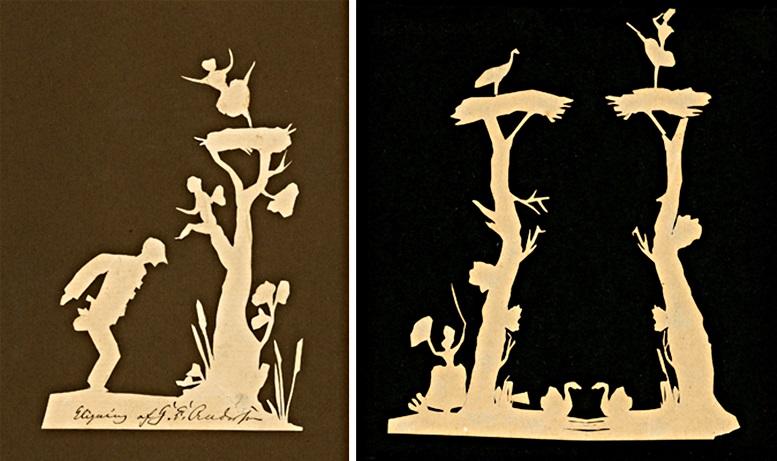 H.C. Andersen: Pierrot, Engel und Tänzerin (links), Zwei Bäume mit Figuren (rechts), Odense City Museums