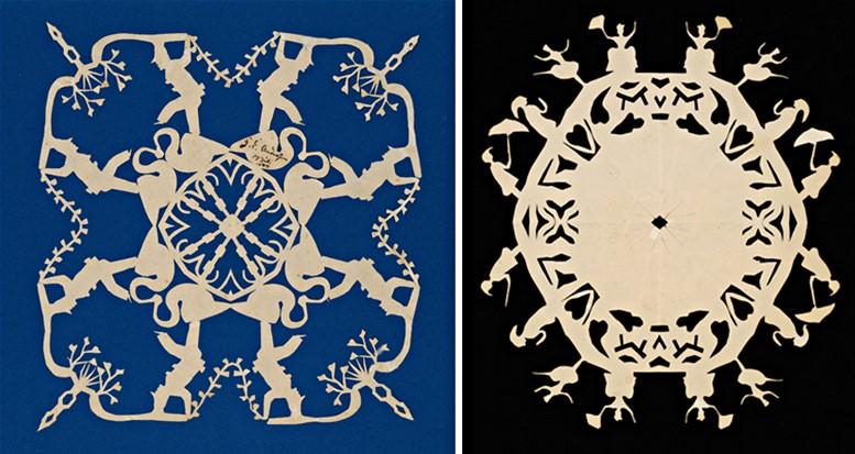 H.C. Andersen: Symmetrisches Muster (links), Hülle für einen Blumenstrauß (rechts), Odense City Museums