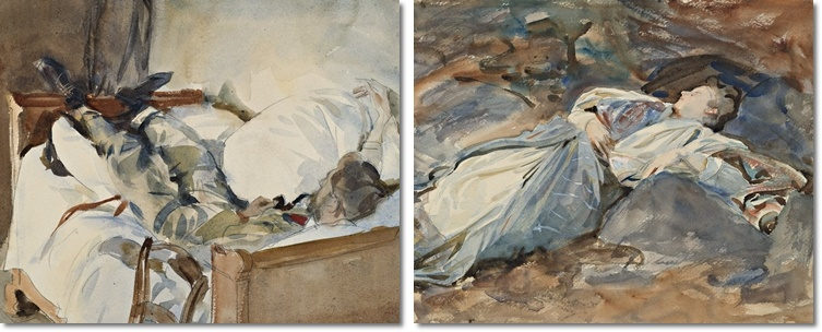 John Singer Sargent (1856-1925): In Switzerland (links) und Violet Sleeping (rechts). Beide: Brooklyn Museum, New York