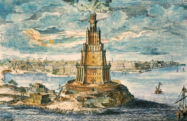 Der Pharos von Alexandria. Kupferstich nach einer Zeichnung des österreichischen Architekten Johann Bernhard Fischer von Erlach, 1721.