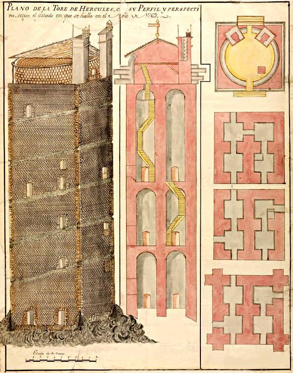 Der Torre de Hércules (Herkulesturm) an der Nordwestküste Spaniens ist einer der wenigen erhaltenen, funktionstüchtigen römischen Leuchttürme. Errichtet zu Beginn des 2. Jahrhunderts n. Chr. zählt er heute zum UNESCO-Welterbe.