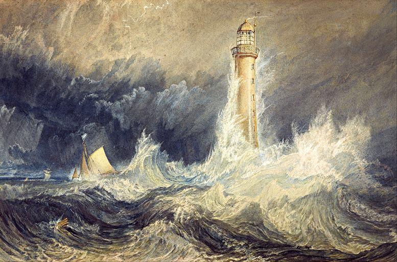 """Bell Rock Lighthouse. Das von William Turner geschaffene Bild des Leuchtturms findet sich auch als Illustration in dem von Robert Stevenson verfassten Buch """"An Account of the Bell Rock Light-House"""" (1824). Darin liefert Stevenson nicht nur viele Details zum Bau von Bell Rock, sondern weiß auch einiges aus der Seefahrtsgeschichte zu berichten – was annehmen lässt, dass er eine ähnliche erzählerische Ader hatte wie sein Enkel Robert Louis."""