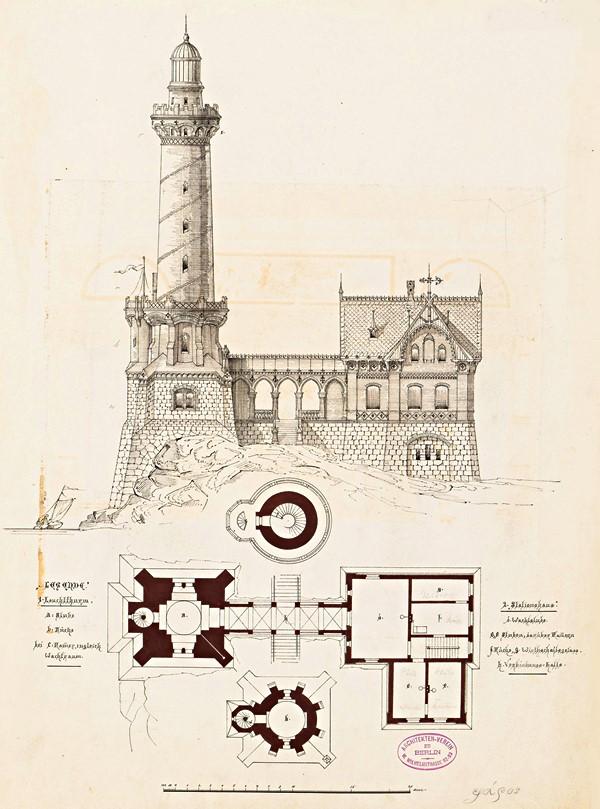 Entwurf eines Leuchtturms (1881). Quelle: Technische Universität Berlin, Architekturmuseum