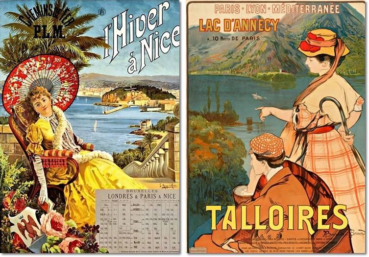 Links: F. Hugo d'Alesi, Plakat, ca. 1891. Rechts: Albert Besnard – Robert Besnard, Plakat, 1910.