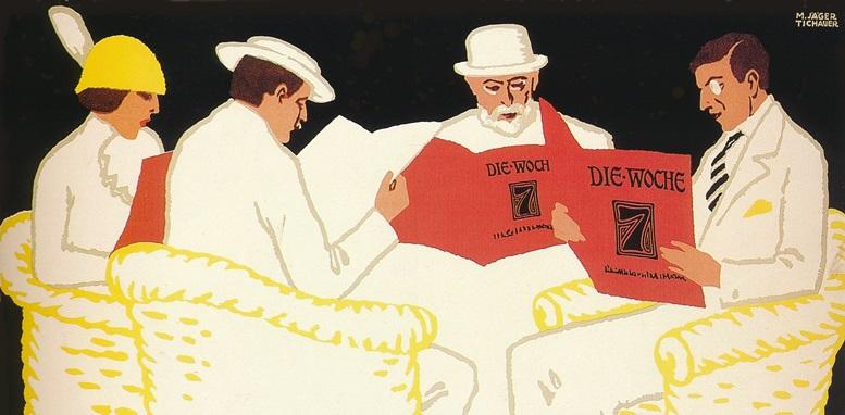 """M. Jäger Tichauer: Werbeplakat für die Zeitschrift """"Die Woche"""", um 1900"""