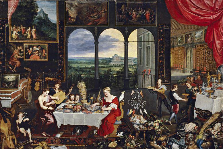Pieter Bruegel der Ältere: Allegorie von Tastsinn, Gehör und Geschmack (1618)