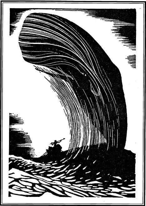 """Einer der Holzschnitte, die Raymond Bishop für """"Moby Dick"""" schuf."""
