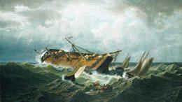 Der amerikanische Maler William Bradford war ein Zeitgenosse von Herman Melville und auch in seinem Schaffen war der Walfang ein zentrales Thema. 1860/61 schuf er dieses Bild, das den Untergang des Walfangschiffes Nantucket zeigt (Original im Metropolitan Museum of Art / New York).