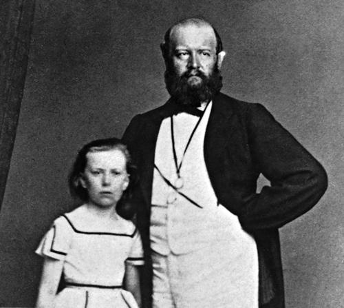 Lydia Escher und ihr Vater Alfred Escher, um 1865 (Foto Wikipedia, Ausschnitt).
