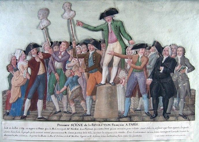 Jean-Baptiste Lesueur: Première scène de la Révolution Française à Paris. Am 12. Juli 1789, zwei Tage vor dem Sturm auf die Bastille, demonstrierten die Pariser ihre Verbundenheit mit dem Finanzminister Jacques Necker und dem Herzog von Orleans, die beide als Gegner des Absolutismus galten, indem sie ihre Büsten durch die Straßen trugen. Bei den Büsten handelte es sich vermutlich um Wachsköpfe, die von Philipp Curtius und Marie Grosholtz hergestellt worden waren.