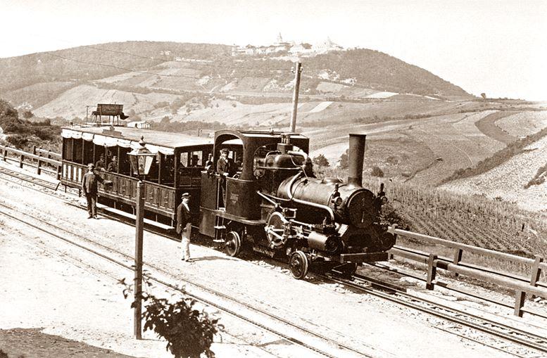Die von 1874 bis 1922 auf den Kahlenberg fahrende Zahnradbahn (um 1875).