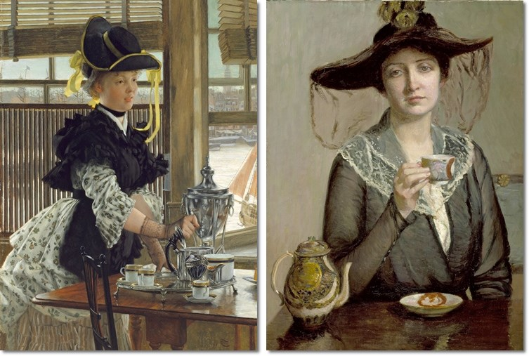 Links: James Tissot, Tea, 1872. Rechts: Lilla Cabot Perry, A Cup of Tea, um 1900.