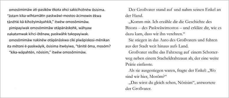 """Ausschnitt aus """"Die Würdigung des Bisons"""", so wie hier ist im gesamten jeweils auf der linken Seitenhälfte der Text in der Sprache der Cree abgedruckt."""