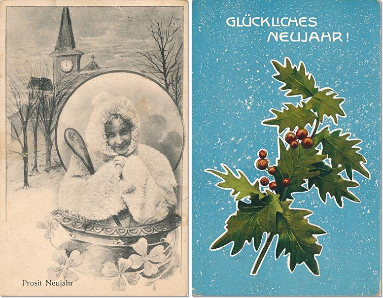 Neujahrskarten 1906 (links) und um 1910 (rechts).