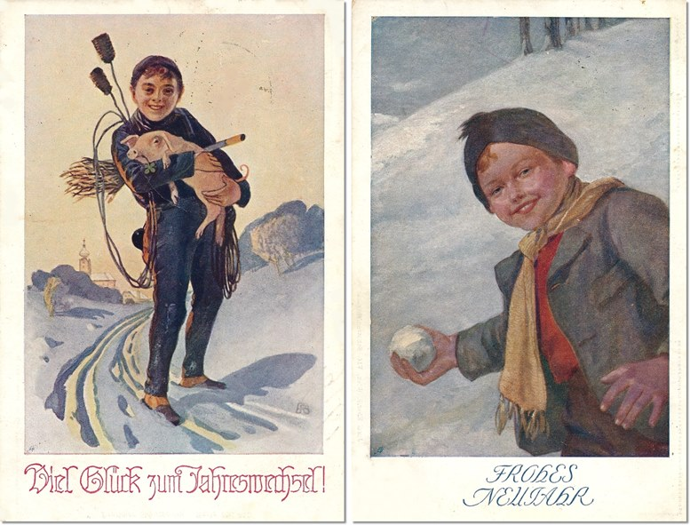 Neujahrskarten 1916 (links) und 1912 (rechts).