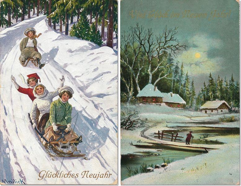 Zwei Neujahrskarten aus dem Jahr 1910 (links Entwurf Alfred Moritz Mailick, 1869–1946).