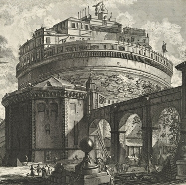 Giovanni Battista Piranesi (1748–1778), Die Engelsburg in Rom.