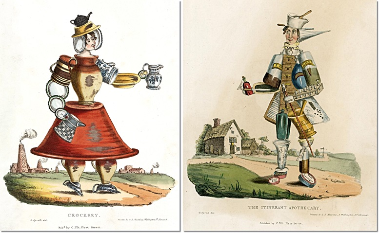 Links: Crockery. Rechts: The Itinerant Apothecary (beide: London Science Museum)