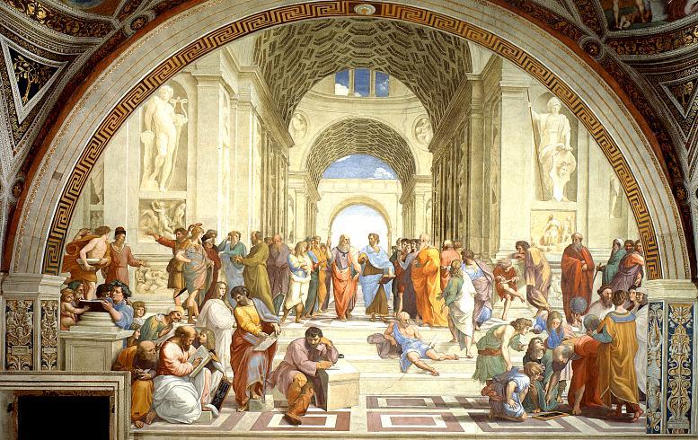 """Raffael, La scuola di Atene. 1510/11 geschaffenes Fresko für die Stanza della Segnatura des Vatikans. Der Titel des Werks, """"Die Schule von Athen"""", verweist auf die philosophische Tradition im antiken Griechenland. Unter den dargestellten Personen befinden sich unter anderem Platon und Aristoteles (in der Bildmitte), Sokrates, Diogenes, Pythagoras, Euklid und Epikur."""