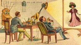 """""""Correspondance Cinéma-Phono-Télégraphique"""" aus der Reklamekartenserie """"En L'An 2010"""". Bildquelle: Gallica / Bibliothèque nationale de France"""
