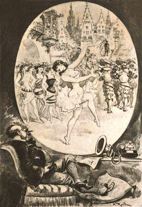 """""""Le Théâtre chez soi par le Téléphonoscope"""". Illustration aus """"Le Vingtième Siècle"""""""