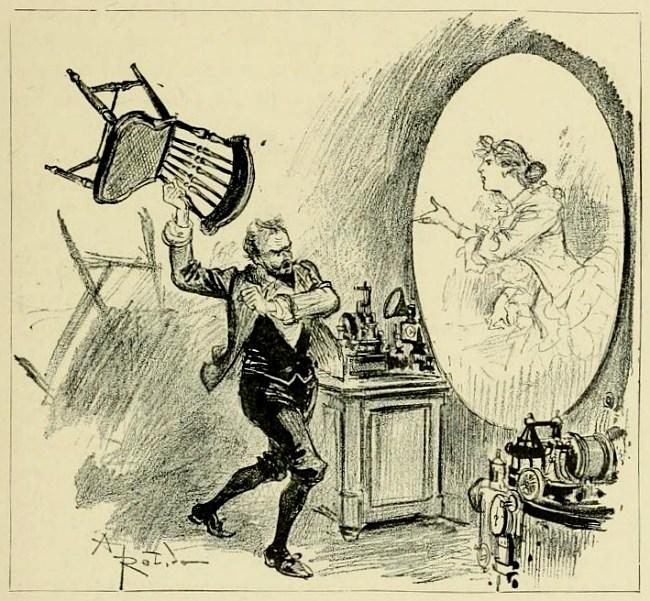 """In Robidas Welt wird das Telephonoscope auch dazu benutzt, um so manchen Konflikt – etwa eine Eifersuchtsszene – über sichere Distanz auszutragen. (Illustration aus """"Le Vingtième Siècle. La Vie Électrique"""")"""