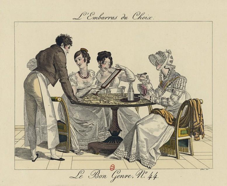 """""""L'Embarras du Choix"""" – Die """"Qual der Wahl"""" beim Auswählen des gewünschten Eises. Abbildung aus der satirischen Serie """"Le Bon Genre"""", Paris 1827 (Gallica / Bibliothèque nationale de France)"""