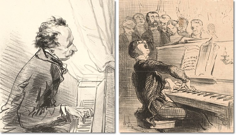 Links: Paul Gavarni, Pianist (1853). Rechts: Honoré Daumier, Singender Pianist (1852).