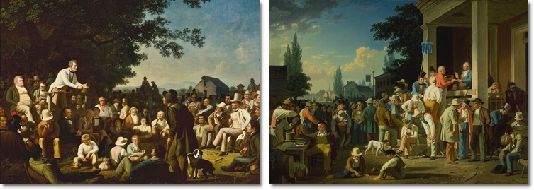 George Caleb Bingham (1811–1879), links: Stump Speaking, rechts: The County Election