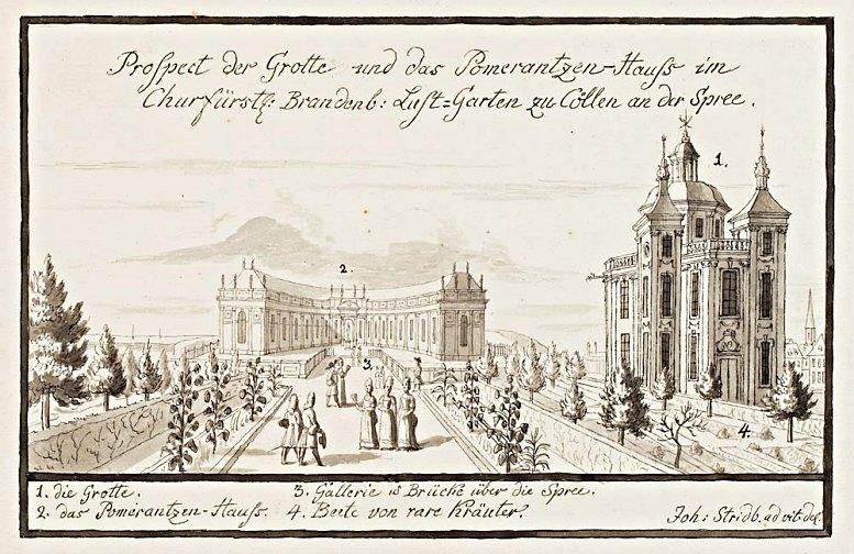 Pomeranzenhaus im Berliner Lustgarten, Zeichnung von Johann Stridbeck d.J., 1690