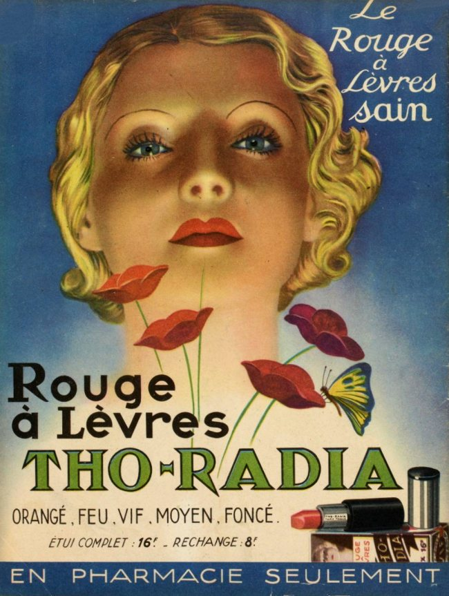 """Werbung in der französischen Zeitschrift """"Marie-Claire"""", 23. Juli 1937. Die Firma Tho-Radia war einer der Marktführer beim Vertrieb von Kosmetikprodukten mit Radiumzusätzen."""