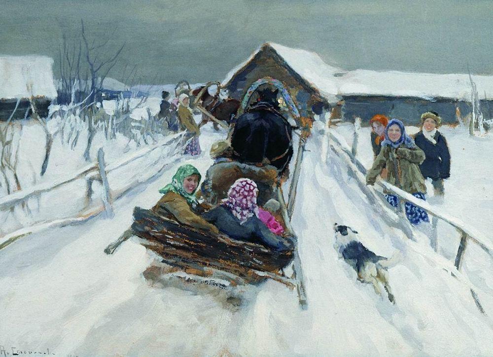 Aleksej S. Stepanov (1858–1923): Schlittenfahrt zu Masleniza. 1910.