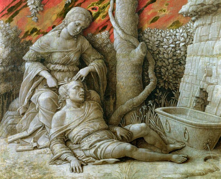 Andrea Mantegna: Dalila und Samson. 1495 (National Gallery, London) Das Bild (Ausschnitt) zeigt eine Szene aus der alttestamentarischen Geschichte vom Helden Samson (auch: Simson), der seine gewaltigen Kräfte verliert, als ihm seine Gefährtin Dalila (auch: Delilah) das Haar schneidet und ihn damit seinen Feinden ausliefert.