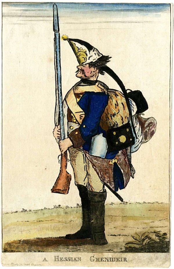 """Satirische Darstellung eines deutschen – hessischen – Grenadiers mit langem """"Soldatenzopf"""" (der im Englischen oft auch als """"Hessian pigtail"""" bezeichnet wurde). 1778 (British Museum, London)"""