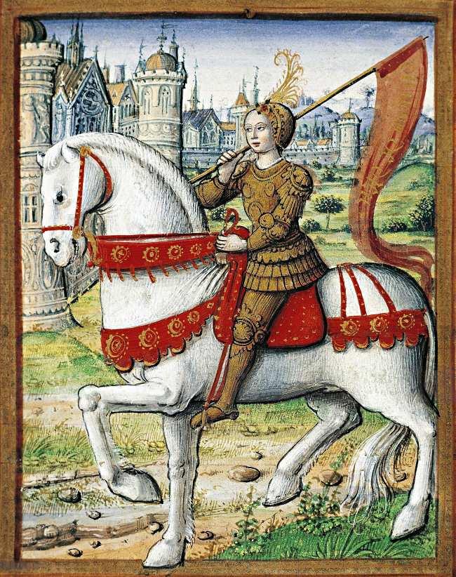 """Jean Pichore: Jeanne d'Arc. Buchillustration aus """"Les vies des femmes célèbres"""" von Antoine Dufour, 1504."""