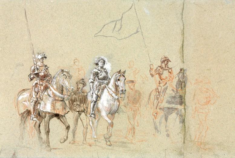 Ernest Meissonier: Jeanne d'Arc. Studie für eine Wandmalerei, um 1889.