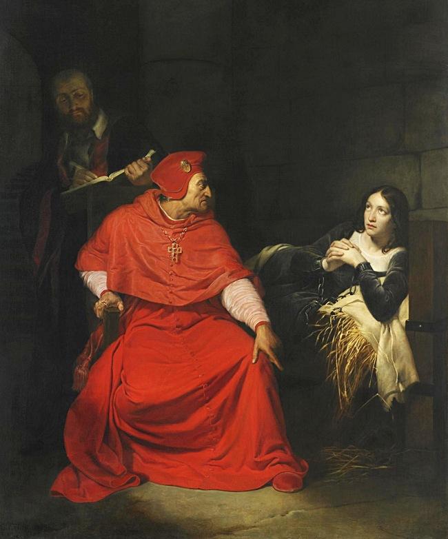 Paul Delaroche: Jeanne d'Arc wird im Kerker vom Kardinal von Winchester verhört, 1824.