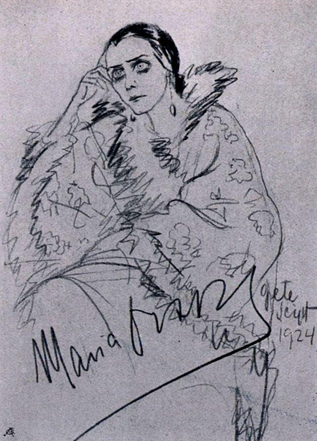 """Maria Orska. Zeichnung von Grete Seipt-Kamare (In: """"Moderne Welt"""", 1930, Heft 19, S. 3.)"""