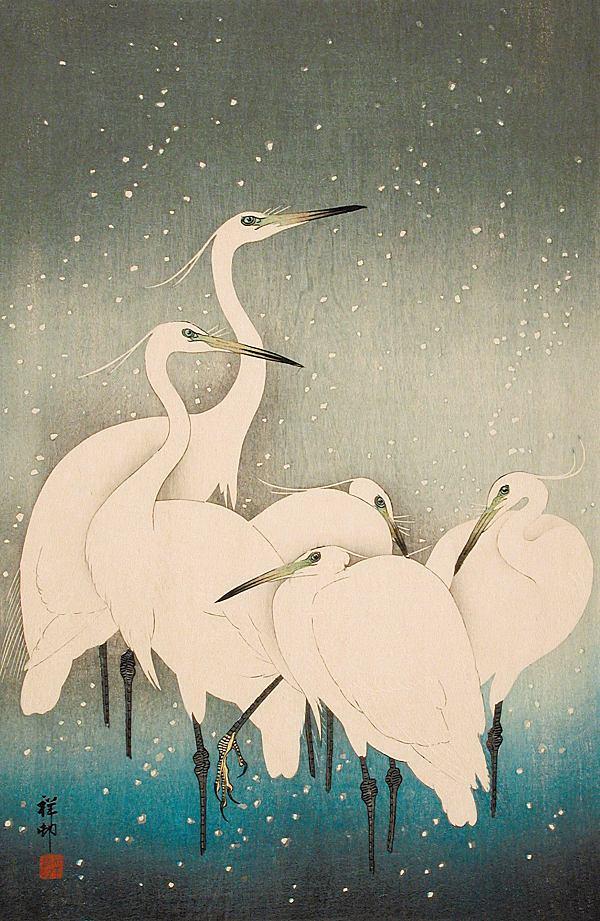 """Ohara Koson: Reiher im Schnee (1927). Abbildung aus dem Band """"Vögel in der Kunst"""""""