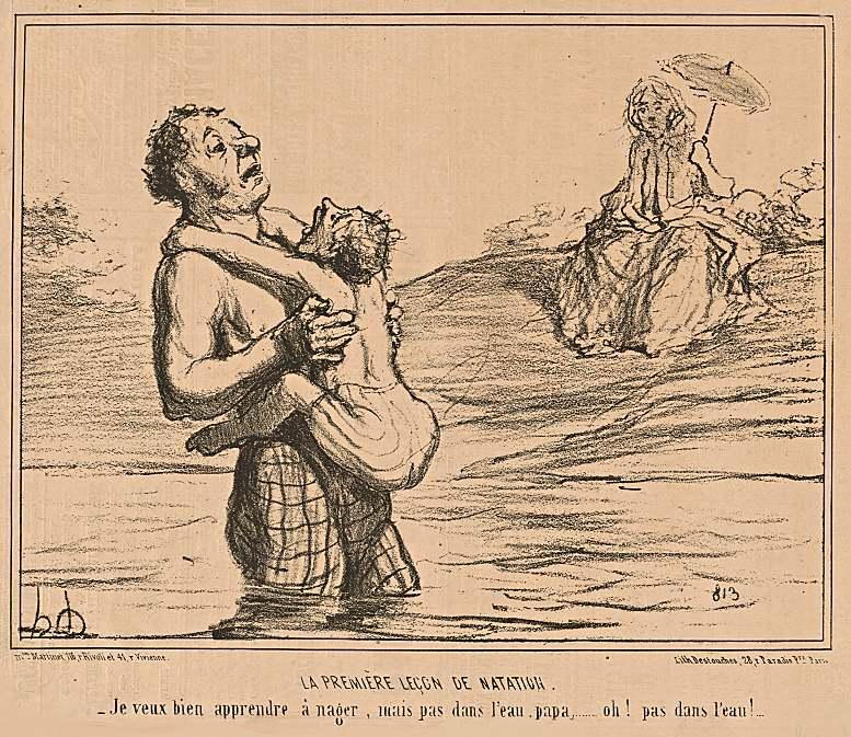 """Honoré Daumier: """"Die erste Schwimmstunde. Ich möchte gerne schwimmen lernen, aber nicht im Wasser, Papa … oh! nicht im Wasser!"""" Lithografie aus der Serie """"Croquis d'Été"""", 1855."""