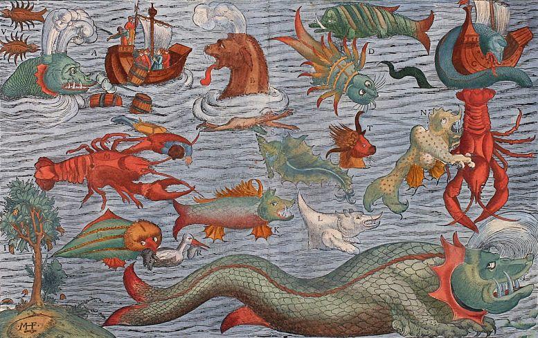 """Seeungeheuer in einer Darstellung von ca. 1544, basierend auf Motiven aus der """"Carta marina"""" des Olaus Magnus (Wikimedia Commons)"""