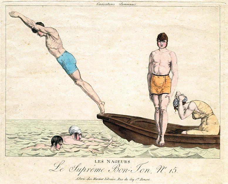 """Les Nageurs – Die Schwimmer. Karikatur aus der Serie """"Le Suprême Bon-Ton"""", Paris 1815"""