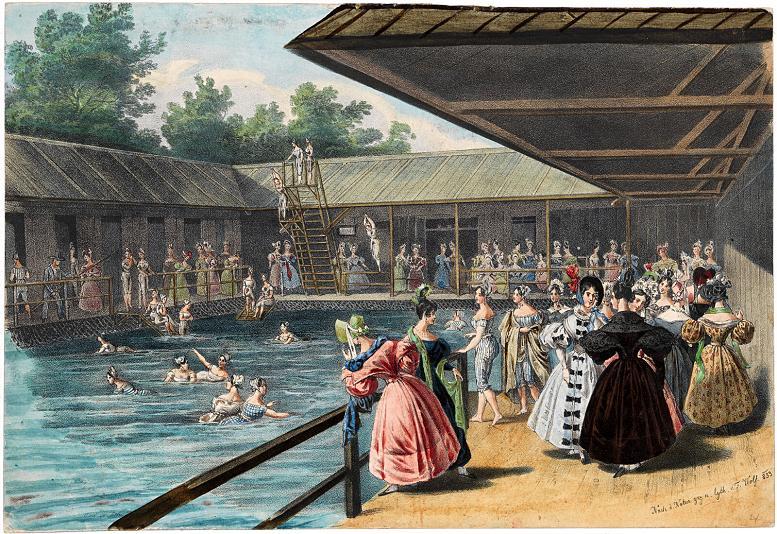"""Die 1831 eröffnete Wiener """"Ferdinand-Marien-Donau-Schwimm- und Badeanstalt"""", die auch die erste Wiener Schwimmschule für Frauen beherbergte (Lithografie von Franz Wolf, 1833)"""