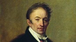 Nikolai Michailowitsch Karamsin porträtiert von Alexei Wenezianow, 1828, Ausschnitt.