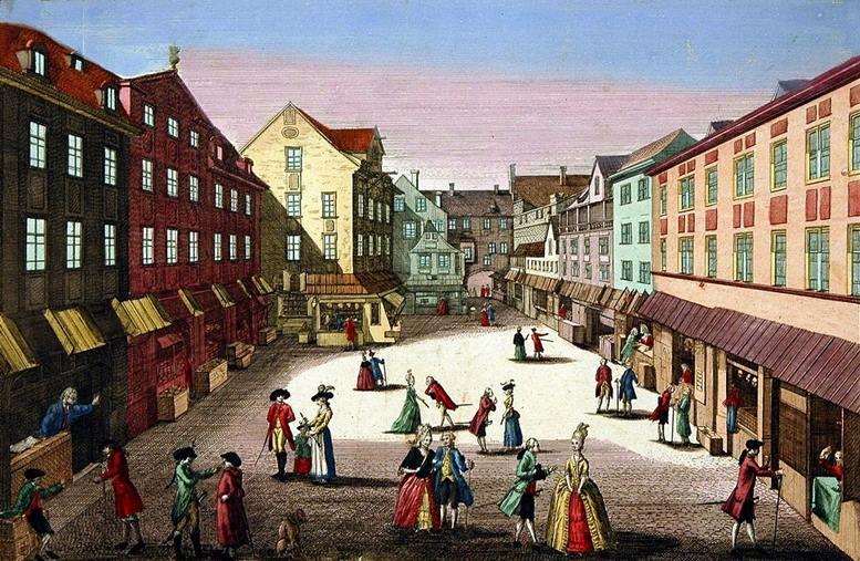 Auerbachs Hof in Leipzig, 1778. Kupferstich nach einer Zeichnung von Johann August Rosmäßler.