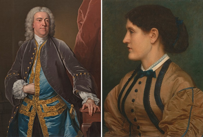 Links: Jean-Baptiste van Loo, Porträt des englischen Diplomaten Stephen Poyntz, ca. 1740. Rechts: Edward John Poynter, Porträt von Eliza Eastlake, 1864 (Beide: Yale Center for British Art, New Haven)